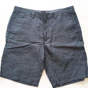"J Crew Club Men's Shorts Linen 35"" Blue Stripe NWT"